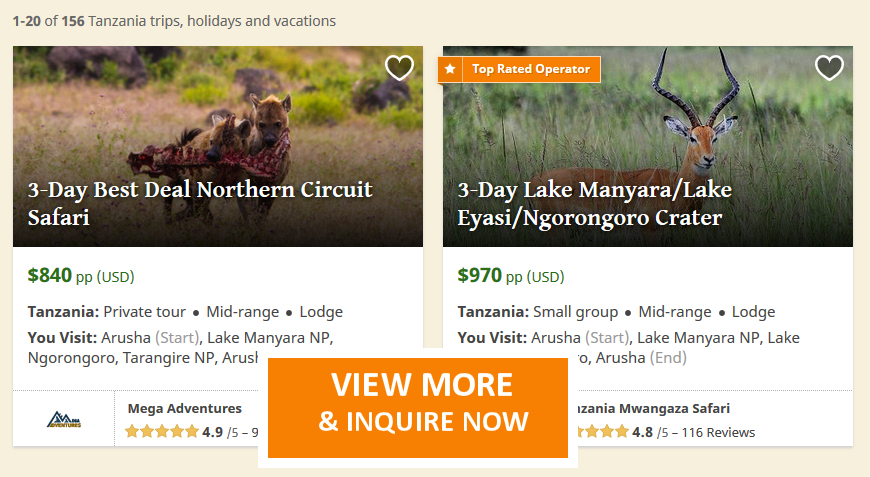 3 Day Safari Tanzania Tours , Serengeti, Ngorongoro,Manyara