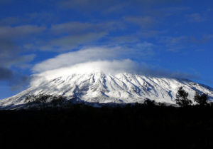 Mountain Kilimanjaro covered in snow.